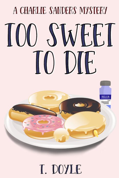 Book cover image includes a plate of donuts with a insulin vial in the background.
